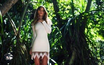 девушка, взгляд, волосы, джунгли, белое платье, кармелла роуз