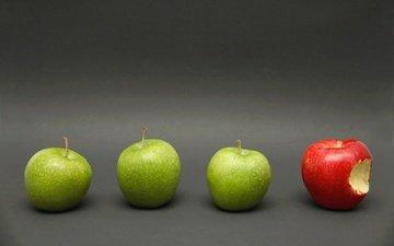 фон, фрукты, яблоки, зеленые, красное