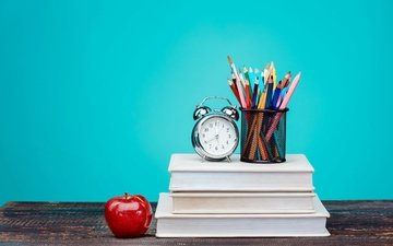 background, colorful, books, pencils, table, watch, apple, alarm clock, colored pencils