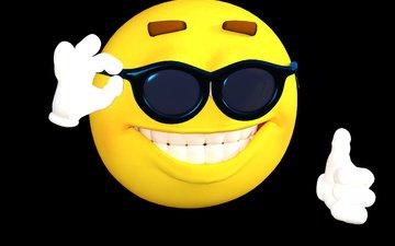 фон, улыбка, очки, графика, тёмные, смайлик, 3д, солнцезащитные очки