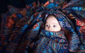 глаза, платье, лицо, ребенок, младенец