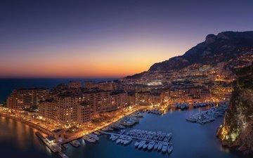 город, дома, сумерки, монако, монте-карло