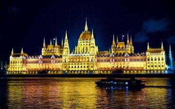 ночь, огни, город, венгрия, будапешт