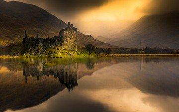 горы, отражение, туман, замок, водоем, шотландия, лох-эйв, замок килчурн