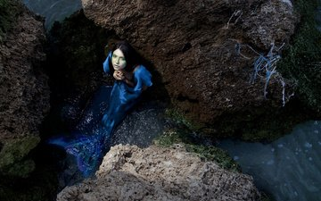 water, stones, girl, look, hair, mermaid