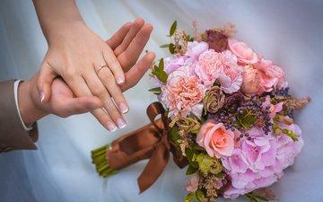 кольцо, букет, руки, свадьба, украшение, маникюр