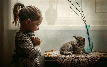 kitty, joy, girl, child, animal, baby