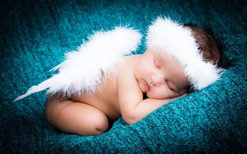 крылья, ангел, ребенок, малыш, младенец, нимб