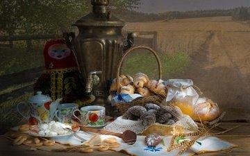 кукла, колосья, хлеб, корзина, чай, салфетка, мед, банка, печенье, выпечка, булочки, самовар, баранки