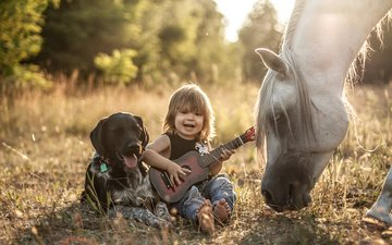 horse, nature, guitar, dog, child, boy, friends, agnieszka gulczynska