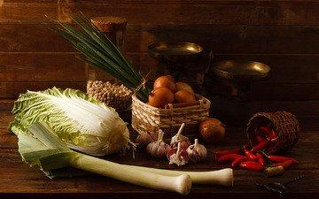 лук, овощи, перец, капуста, чеснок