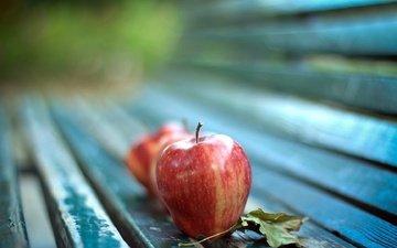 макро, фрукты, яблоки, осень, лист, скамейка, яблоко