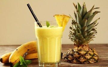мята, напиток, фрукты, стакан, трубочка, бананы, ананас, сок, смузи