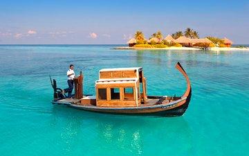 море, пляж, лодка, отдых, остров, мальдивы