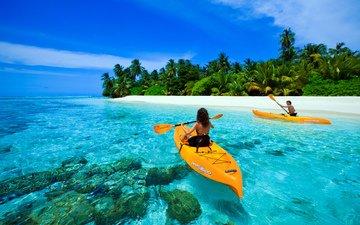 море, пляж, лодки, отдых, остров, тропики, мальдивы