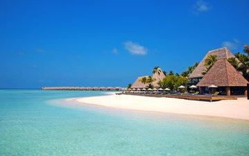 море, пляж, пальмы, отдых, остров, бунгало, тропики, мальдивы