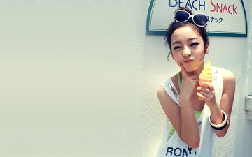 девушка, настроение, мороженое, взгляд, певица, азиатка, ку хара, goo hara