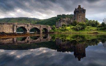 отражение, мост, замок, весна, остров, шотландия, замок эйлен-донан, фьорд лох-дуйх