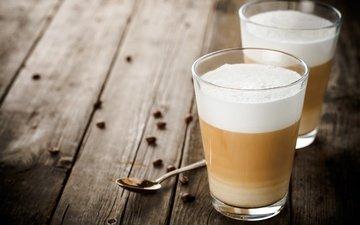 напиток, кофе, стакан, кофейные зерна, капучино
