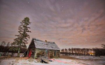 небо, деревья, снег, дерево, зима, звезды, рассвет, хижина