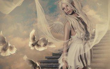 небо, лестница, девушка, крылья, графика, птицы, ангел, голуби, 3д