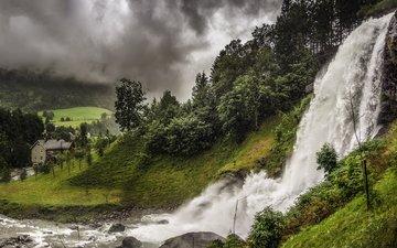 небо, облака, деревья, река, холмы, природа, лес, пейзаж, гора, водопад, долина, норвегия, вимвандем