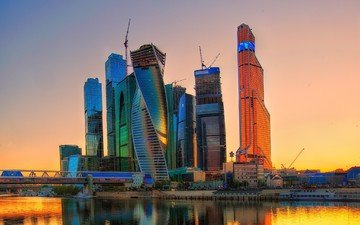 the sky, river, sunset, the city, skyscrapers, home, russia, capital, moscow-city