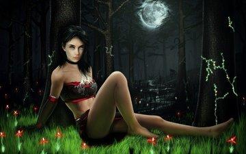 ночь, девушка, луна