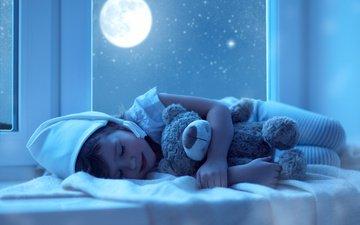 ночь, сон, мишка, игрушка, ребенок, окно, подоконник, пижама