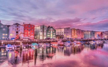 clouds, night, water, the evening, sunset, reflection, the city, boats, pierce, building, old, twilight, norway, harbour, coastline, trondheim
