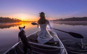 the evening, river, sunset, girl, dog, boat, lantern, stay, paddle