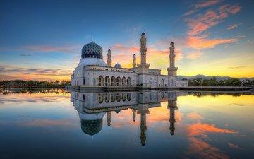 отражение, утро, мечеть, малайзия, кота-кинабалу, likas бэй, города кота-кинабалу мечеть