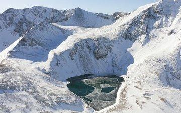 озеро, горы, солнце, снег, лёд