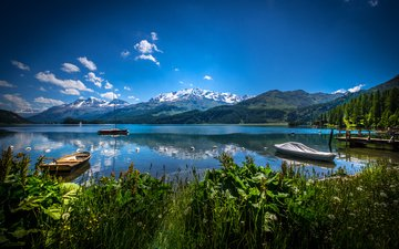 небо, облака, озеро, горы, швейцария, лодки, альпы