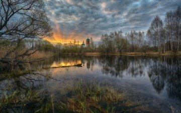 небо, облака, деревья, озеро, отражение, рассвет, церковь