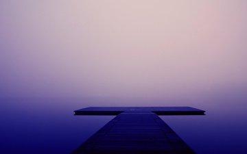 озеро, природа, фон, пирс, причал