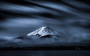 озеро, утро, сияние, гора фудзи, густые облака, снежный пик, takashi