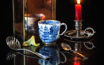 пламя, зеркало, лимон, чашка, чай, свеча, натюрморт, ложки