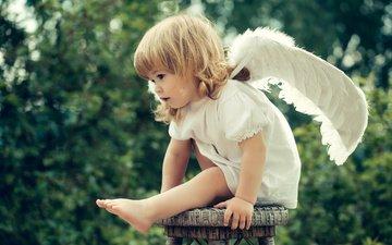 платье, крылья, девочка, ангел, ребенок, табурет, малышка