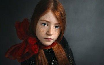 portrait, children, girl, hair, face, freckles, redhead