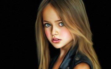 portrait, children, girl, hair, face, canvas, kristina pimenova