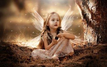 природа, дерево, девочка, ребенок, ствол, шишка, макияж, искры, крылышки, косы