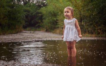 nature, dress, girl, rain, child, puddle, baby
