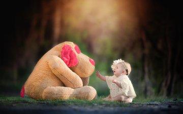 природа, украшения, цветок, собака, дети, девочка, игрушка, ребенок, бусы, пес, жемчуг, малышка, kelly schneider