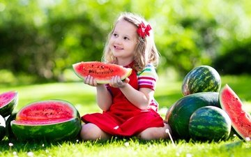 nature, greens, summer, joy, girl, child, watermelons