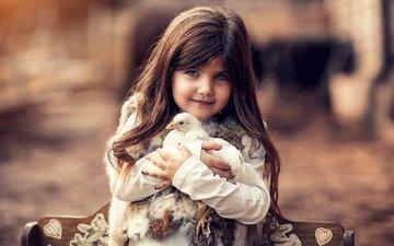 chick, girl, bench, child, chicken, fur, vest