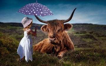 nature, background, dress, girl, child, horns, umbrella, cow, hat