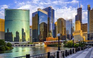 река, мост, город, небоскребы, сша, иллинойс, чикаго