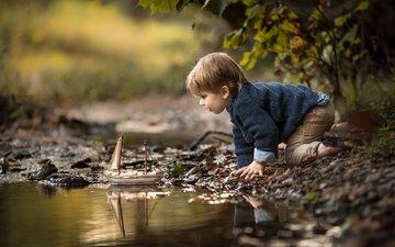 ручей, дети, волосы, лицо, ребенок, мальчик, малыш, кораблик, adrian c. murray