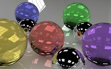 balls, reflection, colorful, glass, colored, 3d